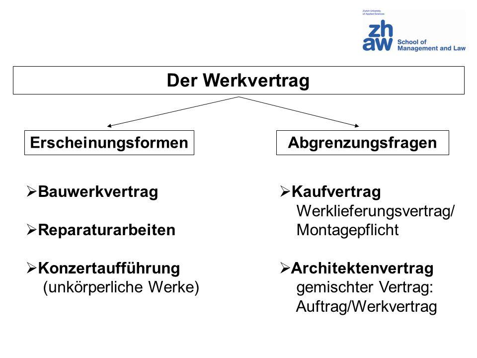 Der Werkvertrag Erscheinungsformen Abgrenzungsfragen Bauwerkvertrag