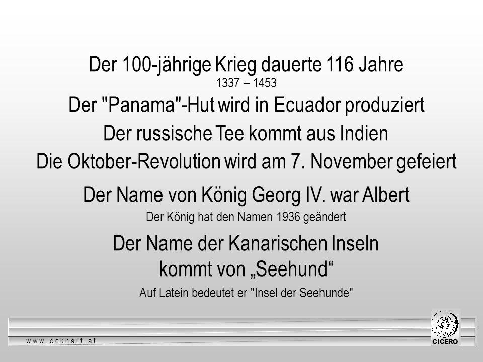 Der 100-jährige Krieg dauerte 116 Jahre