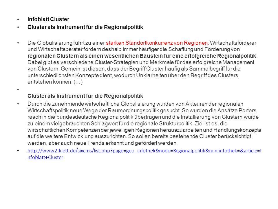 Infoblatt Cluster Cluster als Instrument für die Regionalpolitik.