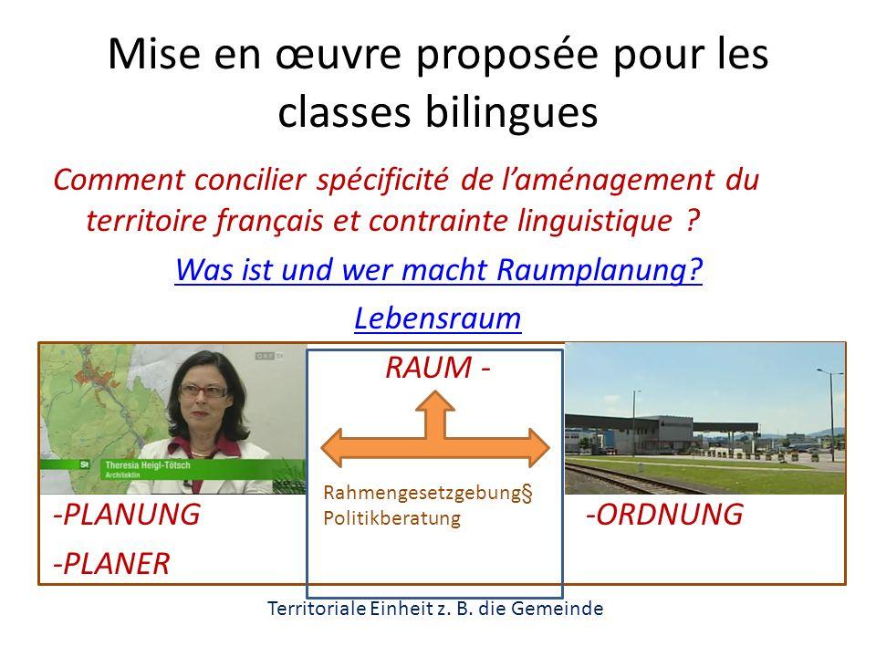 Mise en œuvre proposée pour les classes bilingues