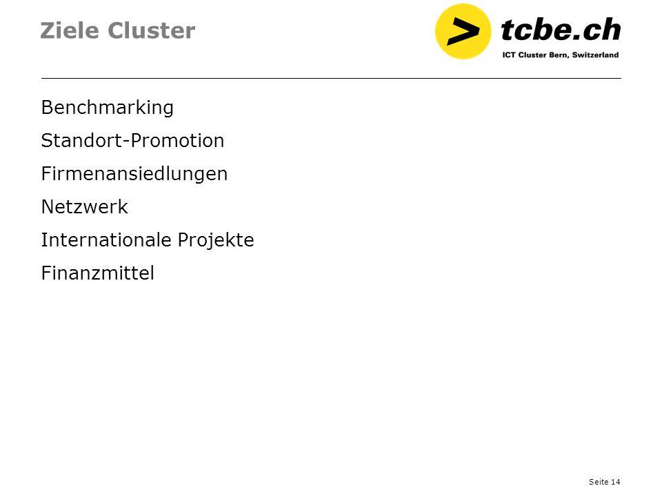 Ziele Cluster Benchmarking Standort-Promotion Firmenansiedlungen