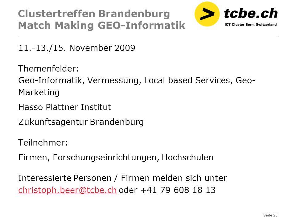 Clustertreffen Brandenburg Match Making GEO-Informatik