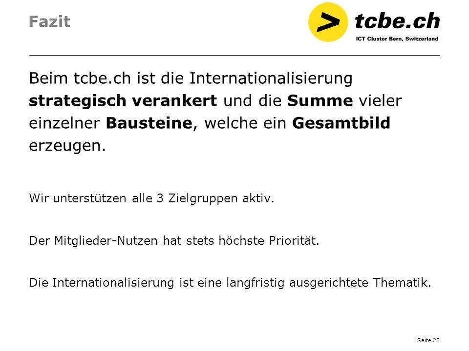 Fazit Beim tcbe.ch ist die Internationalisierung strategisch verankert und die Summe vieler einzelner Bausteine, welche ein Gesamtbild erzeugen.