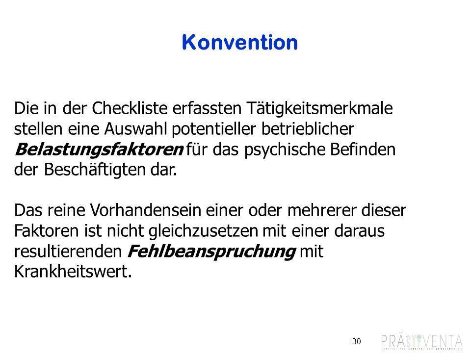 Konvention Die in der Checkliste erfassten Tätigkeitsmerkmale stellen eine Auswahl potentieller betrieblicher.