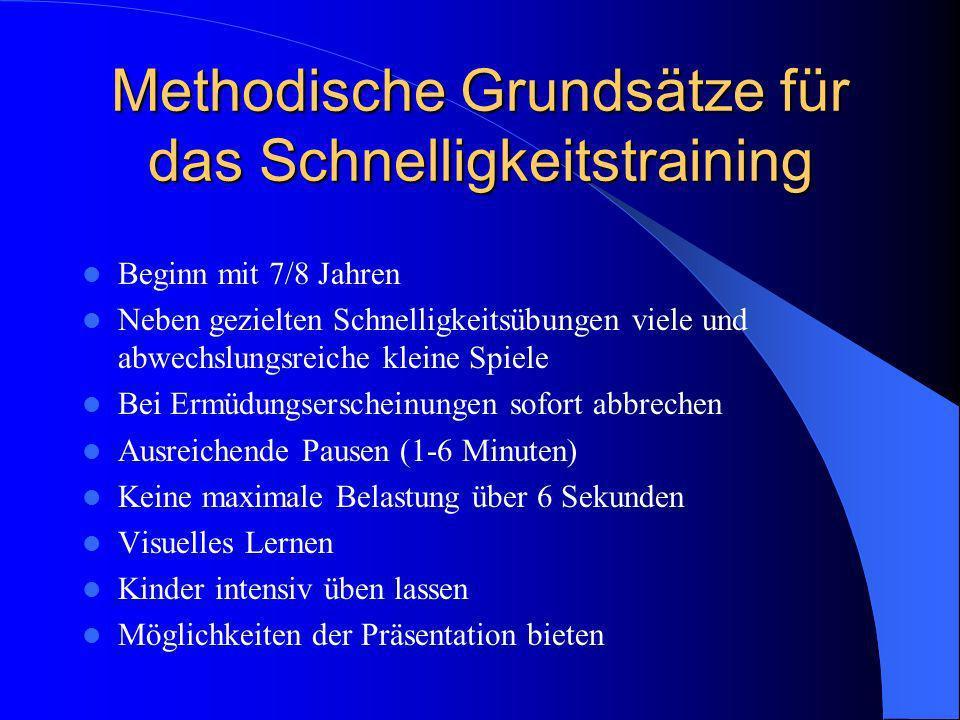 Methodische Grundsätze für das Schnelligkeitstraining