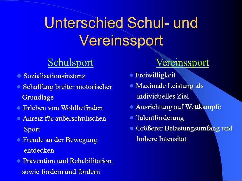 Unterschied Schul- und Vereinssport