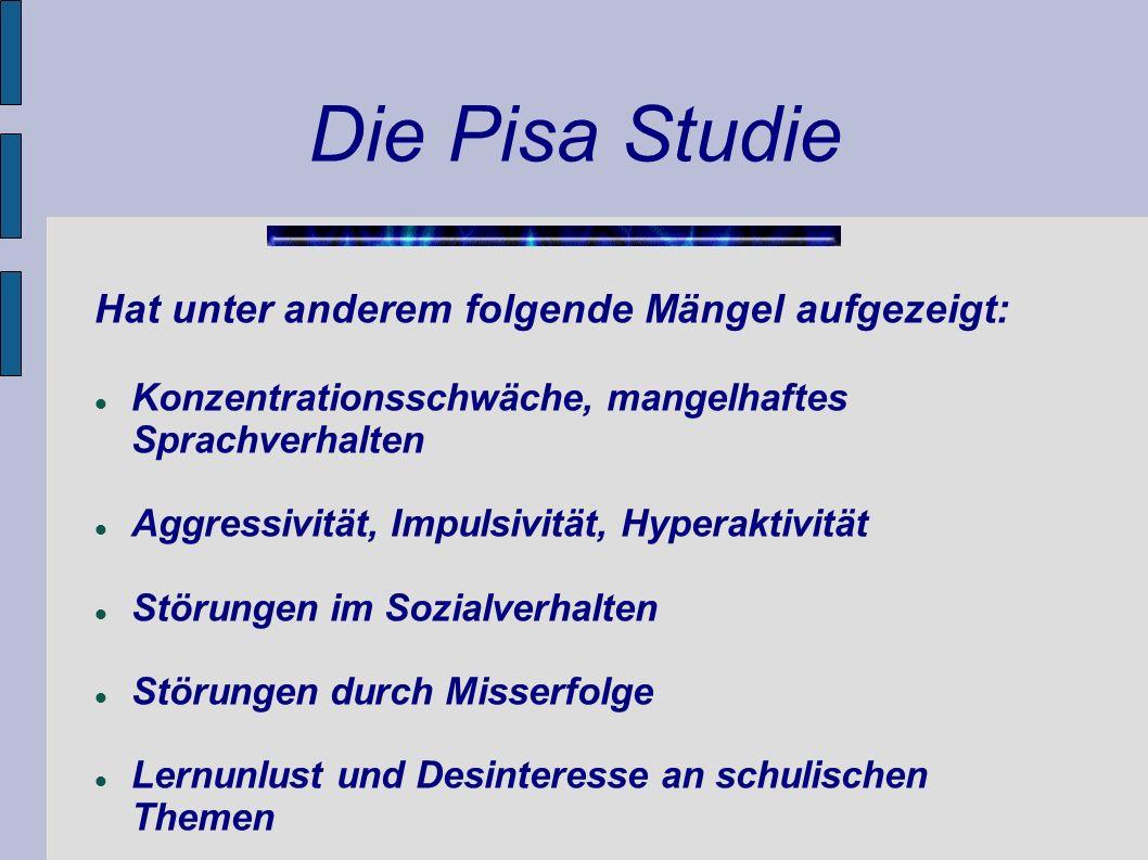 Die Pisa Studie Hat unter anderem folgende Mängel aufgezeigt: