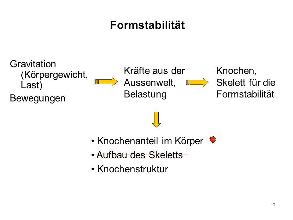 Formstabilität Gravitation (Körpergewicht, Last) Bewegungen
