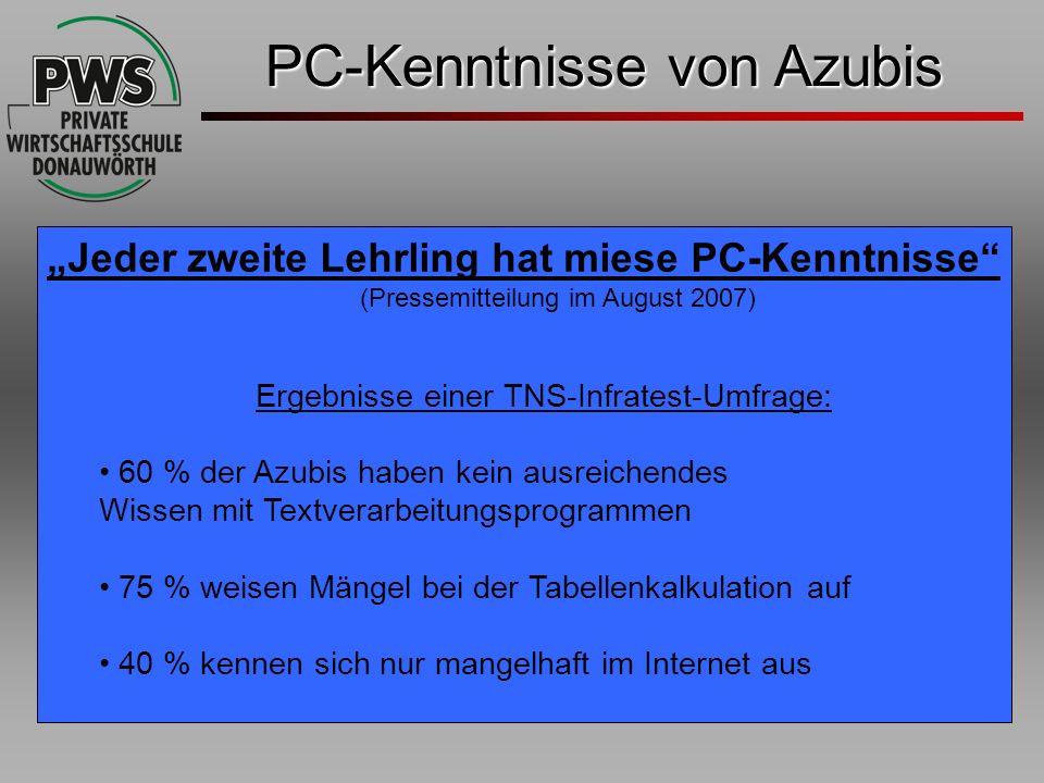 PC-Kenntnisse von Azubis