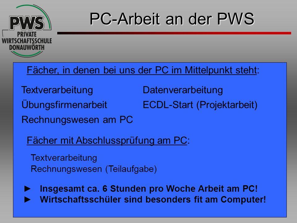PC-Arbeit an der PWS Fächer, in denen bei uns der PC im Mittelpunkt steht: Textverarbeitung Datenverarbeitung.