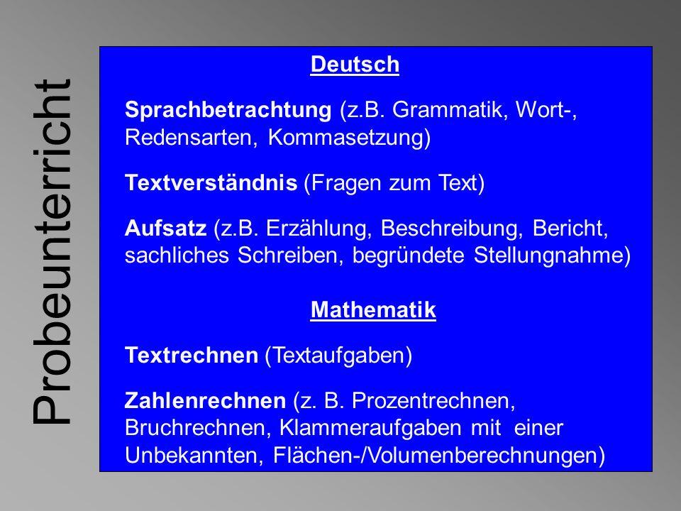 Probeunterricht Deutsch Sprachbetrachtung (z.B. Grammatik, Wort-,