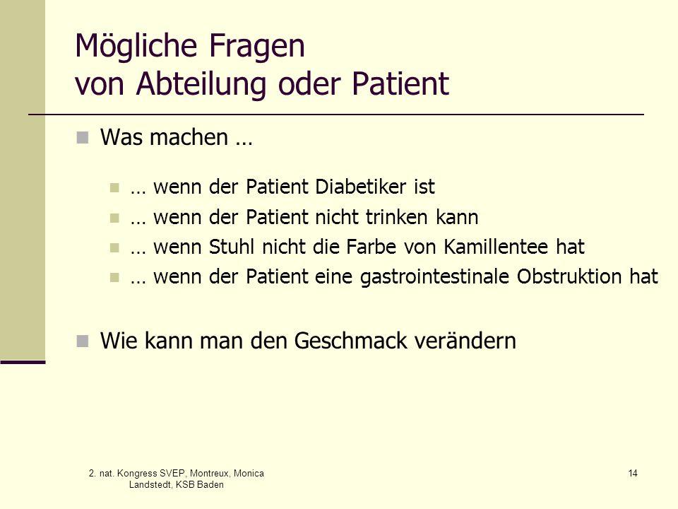 Mögliche Fragen von Abteilung oder Patient