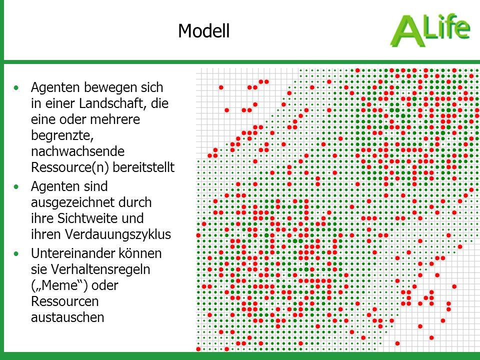 Modell Agenten bewegen sich in einer Landschaft, die eine oder mehrere begrenzte, nachwachsende Ressource(n) bereitstellt.