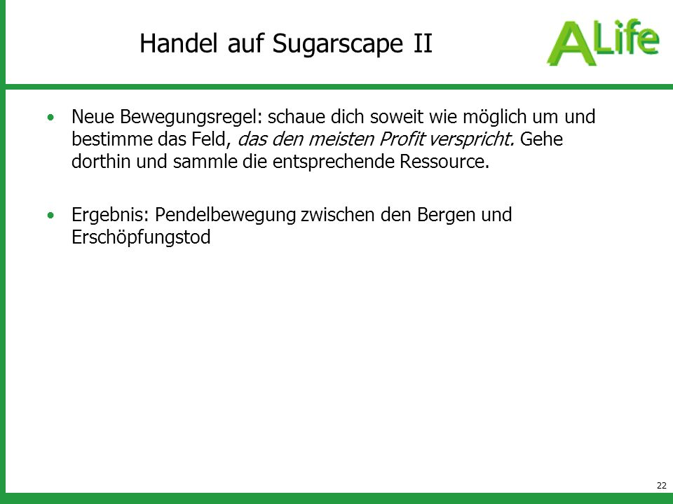 Handel auf Sugarscape II
