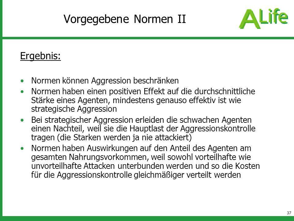 Vorgegebene Normen II Ergebnis: Normen können Aggression beschränken