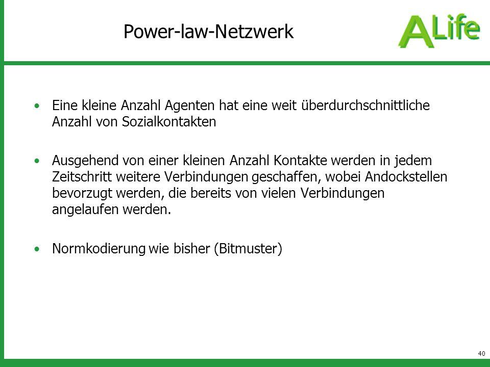 Power-law-Netzwerk Eine kleine Anzahl Agenten hat eine weit überdurchschnittliche Anzahl von Sozialkontakten.
