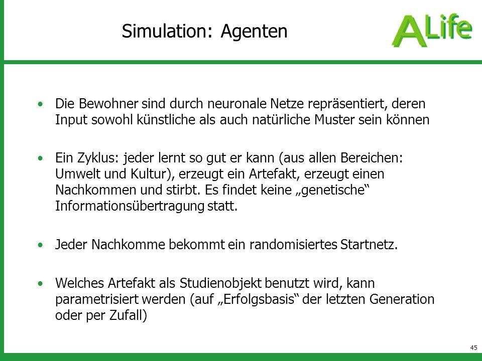 Simulation: Agenten Die Bewohner sind durch neuronale Netze repräsentiert, deren Input sowohl künstliche als auch natürliche Muster sein können.