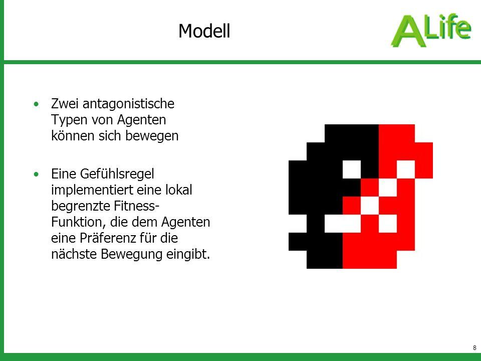 Modell Zwei antagonistische Typen von Agenten können sich bewegen