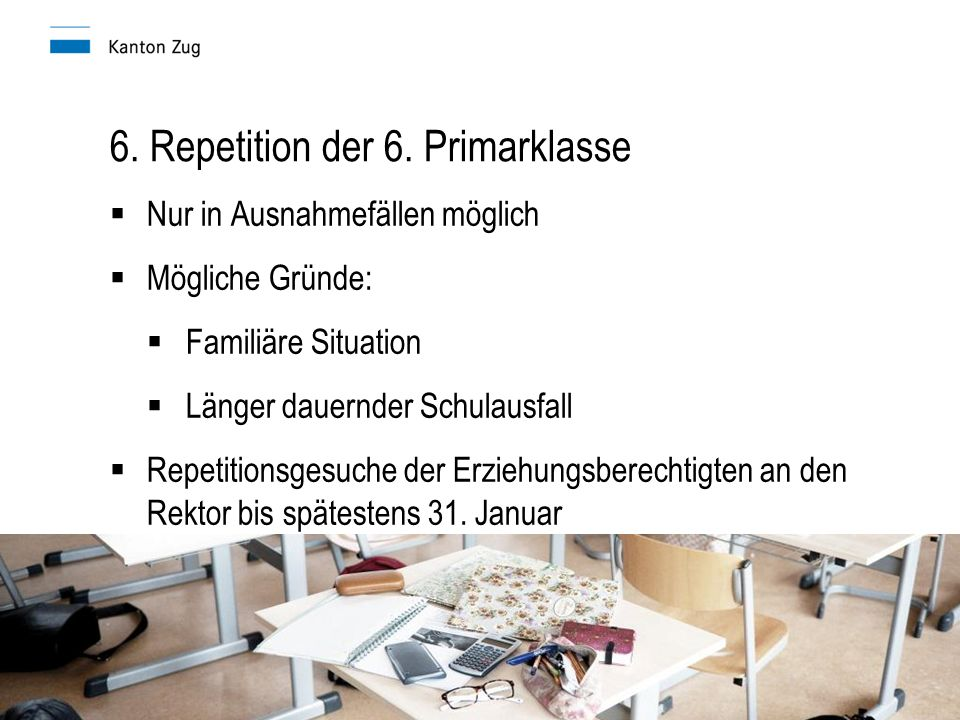 6. Repetition der 6. Primarklasse