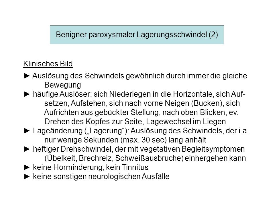 Benigner paroxysmaler Lagerungsschwindel (2)
