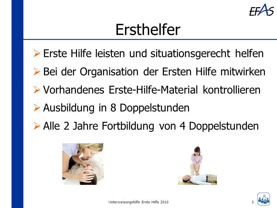 Unterweisungshilfe Erste Hilfe 2010