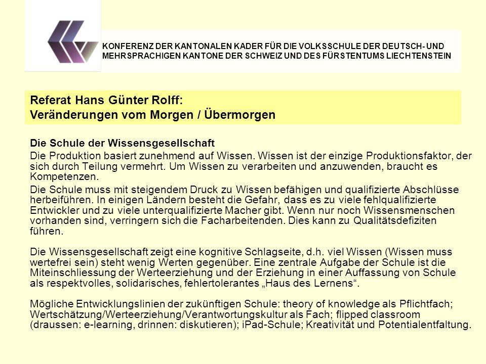 Referat Hans Günter Rolff: Veränderungen vom Morgen / Übermorgen