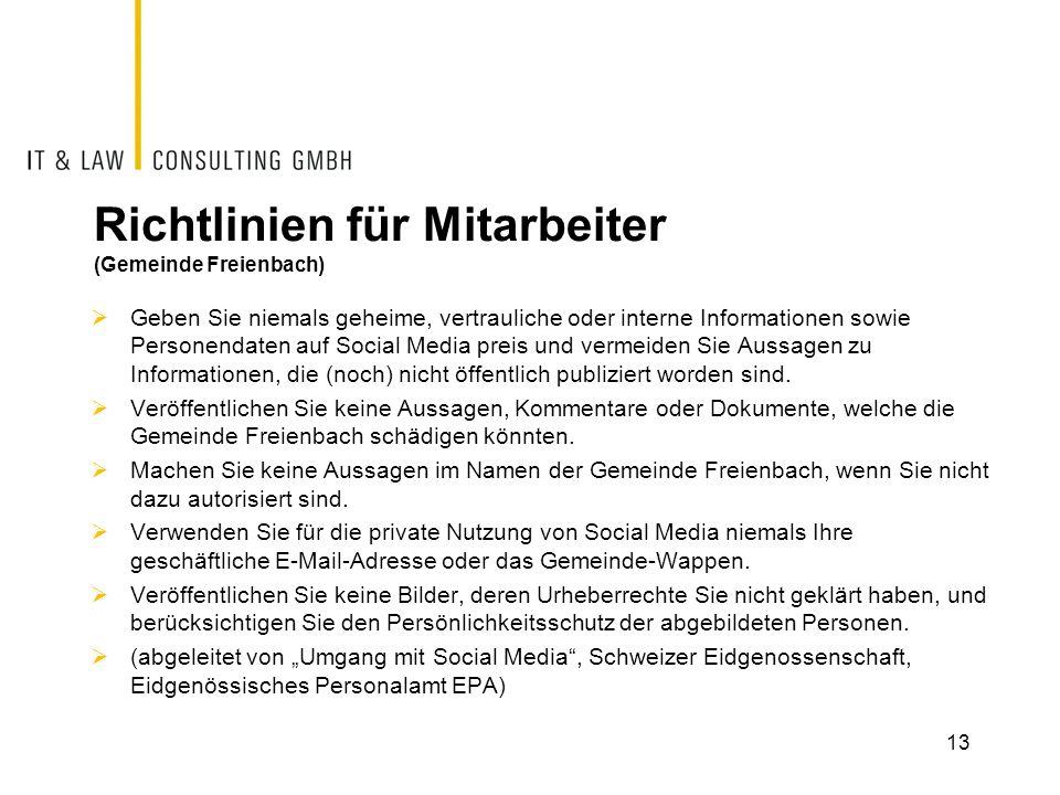 Richtlinien für Mitarbeiter (Gemeinde Freienbach)