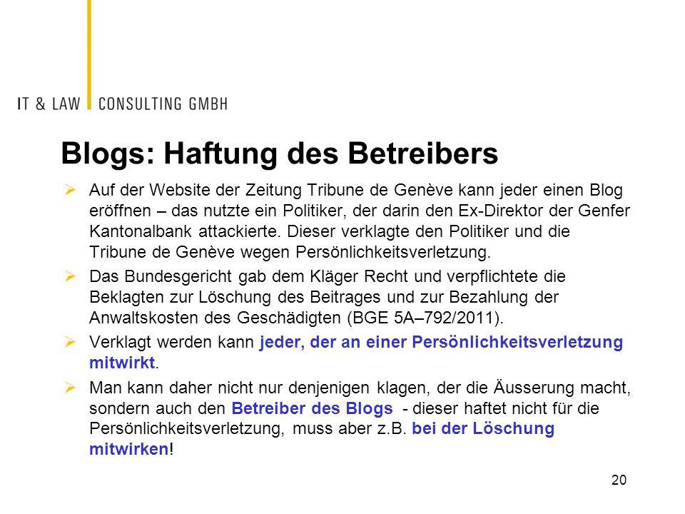 Blogs: Haftung des Betreibers