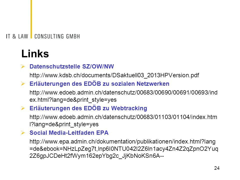 Links Datenschutzstelle SZ/OW/NW