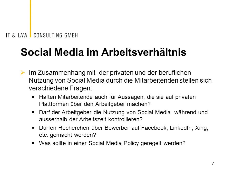 Social Media im Arbeitsverhältnis