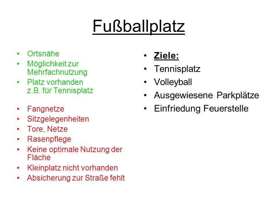 Fußballplatz Ziele: Tennisplatz Volleyball Ausgewiesene Parkplätze