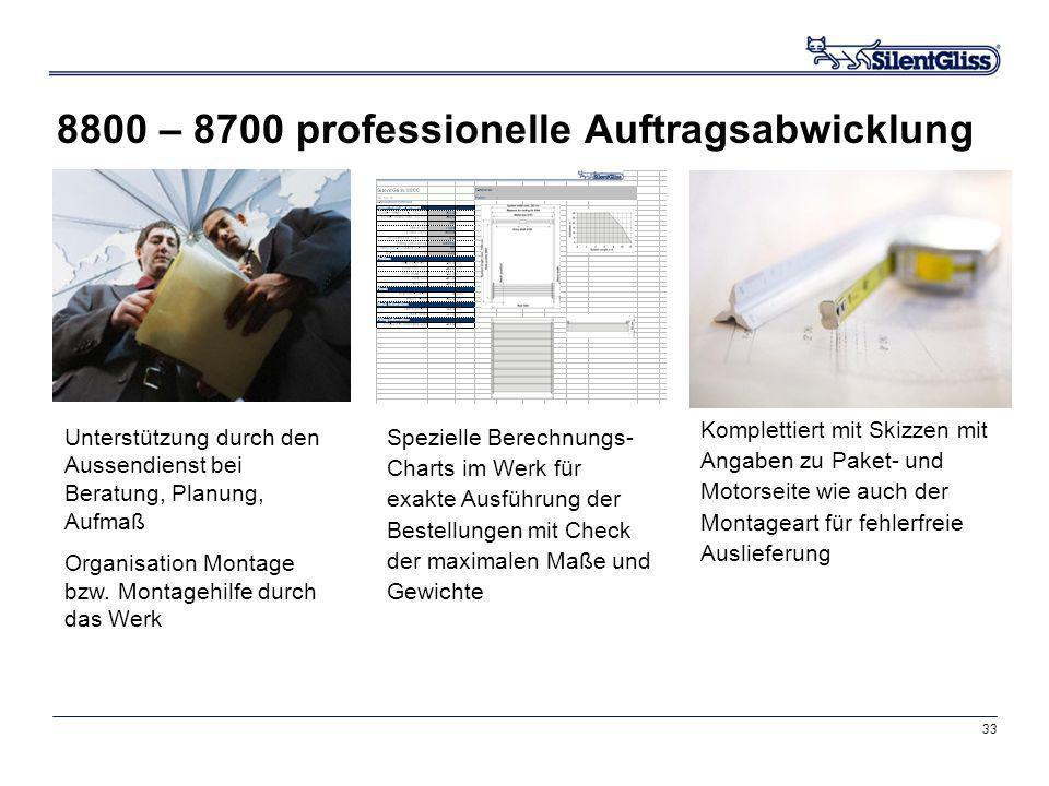 8800 – 8700 professionelle Auftragsabwicklung