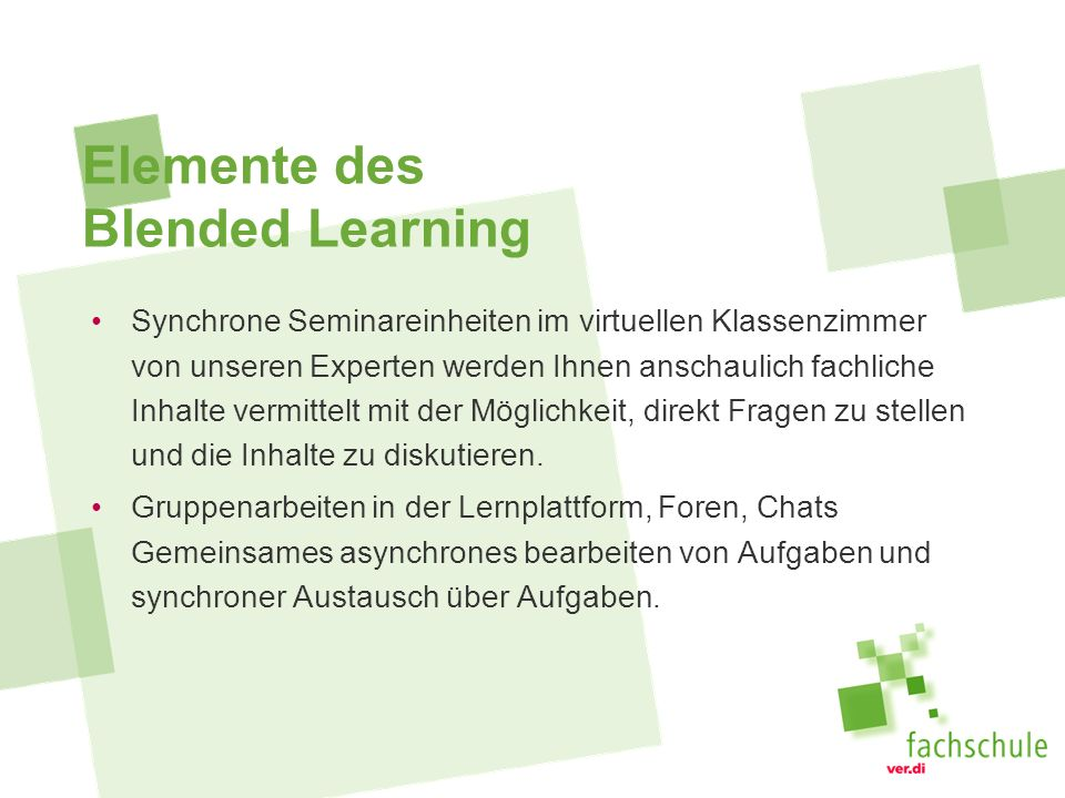 Elemente des Blended Learning
