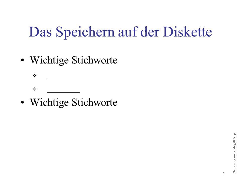 Das Speichern auf der Diskette