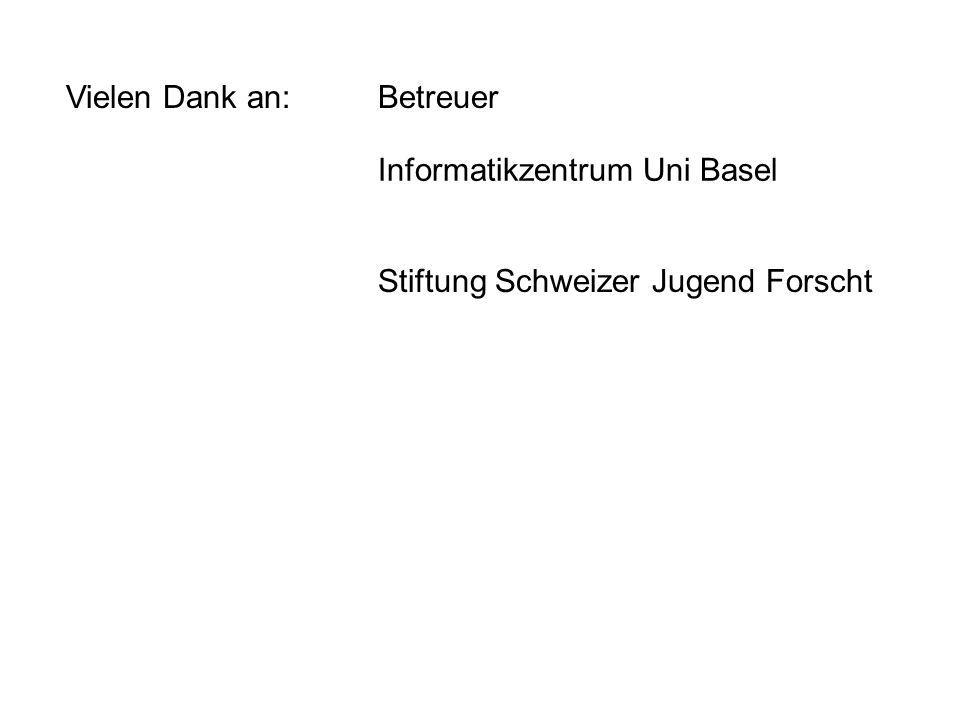 Vielen Dank an: Betreuer Informatikzentrum Uni Basel Stiftung Schweizer Jugend Forscht