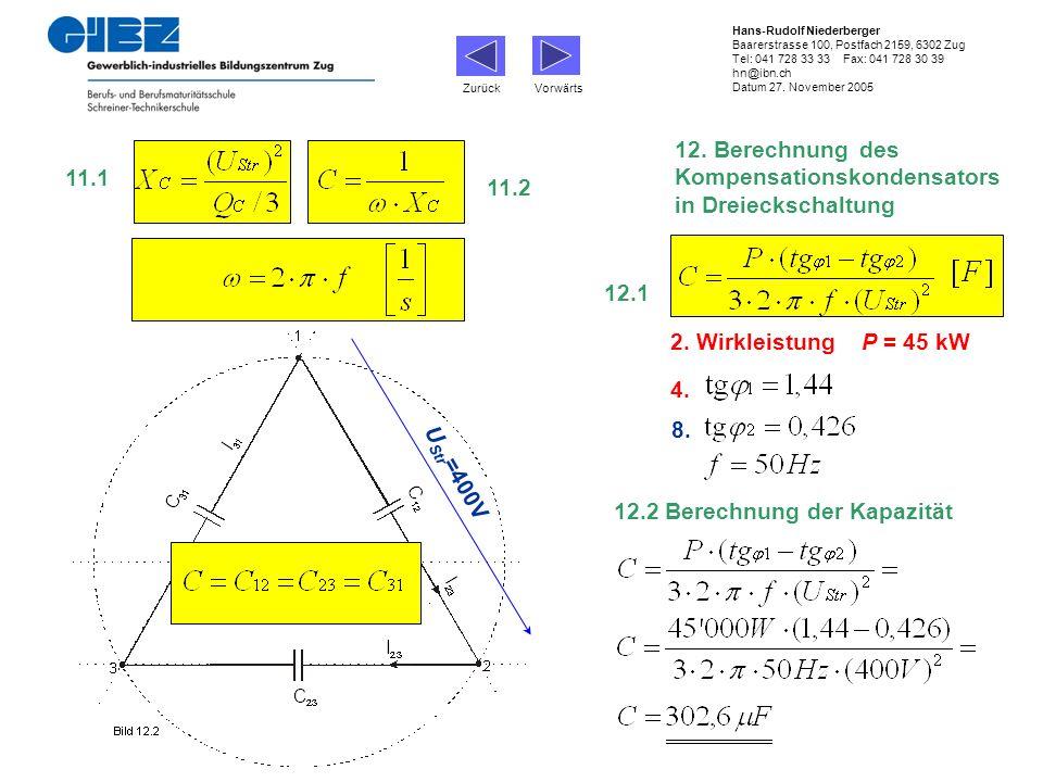 12. Berechnung des Kompensationskondensators in Dreieckschaltung