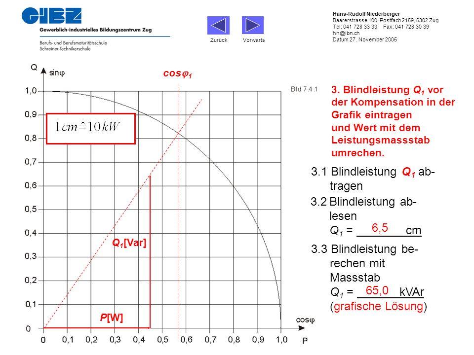 3.1 Blindleistung Q1 ab- tragen 3.2 Blindleistung ab- lesen Q1 = cm