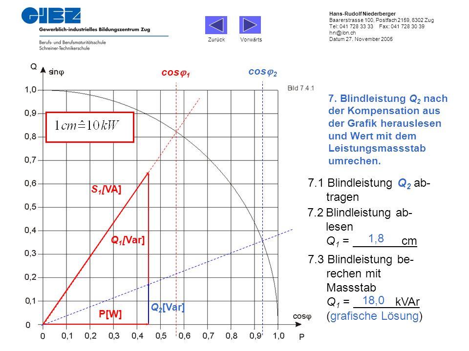 7.1 Blindleistung Q2 ab- tragen 7.2 Blindleistung ab- lesen Q1 = cm