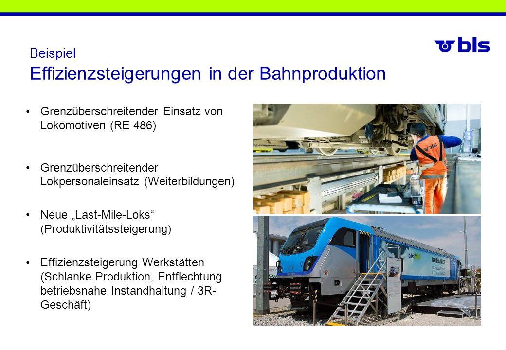 Beispiel Effizienzsteigerungen in der Bahnproduktion