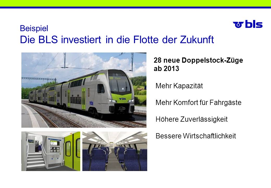 Beispiel Die BLS investiert in die Flotte der Zukunft