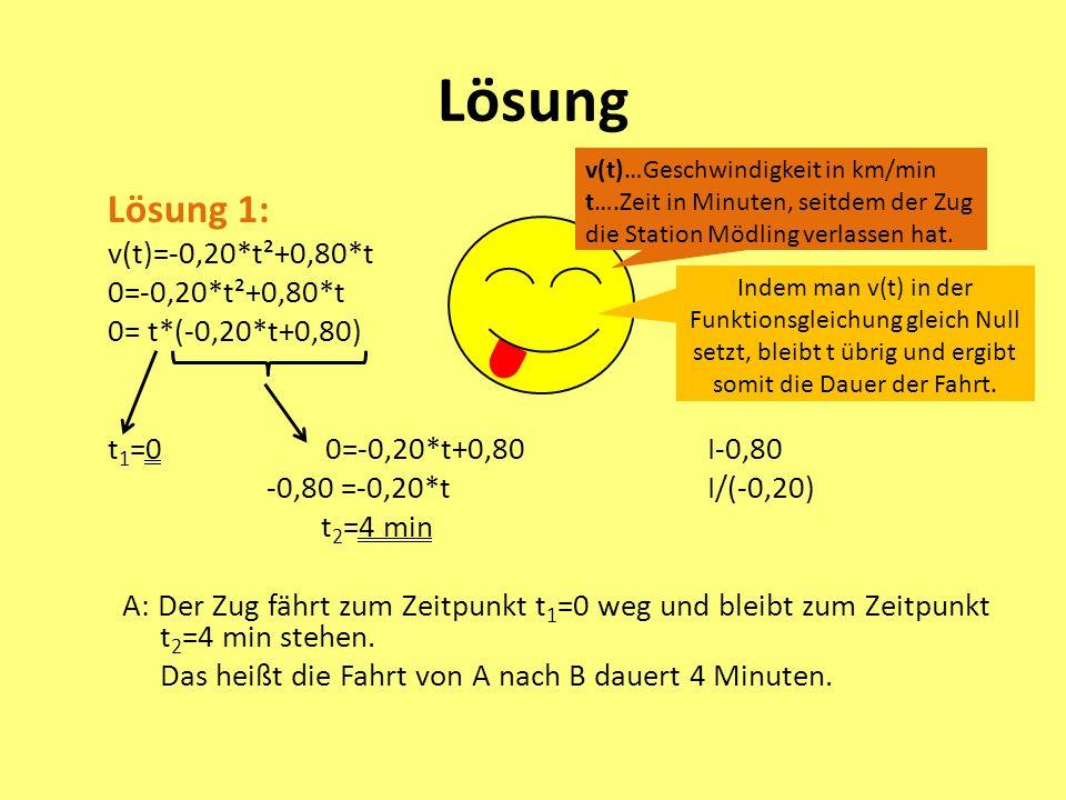 Lösung Lösung 1: v(t)=-0,20*t²+0,80*t 0=-0,20*t²+0,80*t