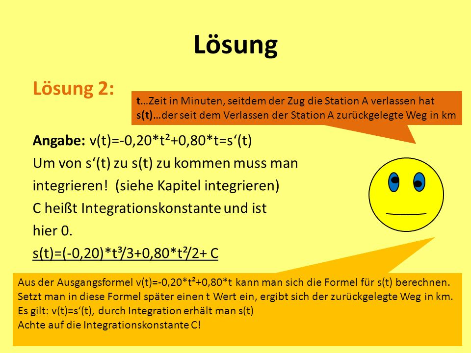 Lösung Lösung 2: Angabe: v(t)=-0,20*t²+0,80*t=s'(t)