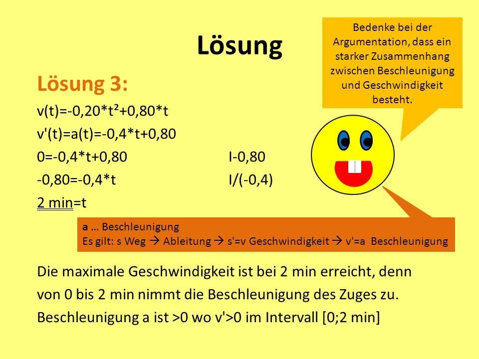Lösung Lösung 3: v(t)=-0,20*t²+0,80*t v (t)=a(t)=-0,4*t+0,80