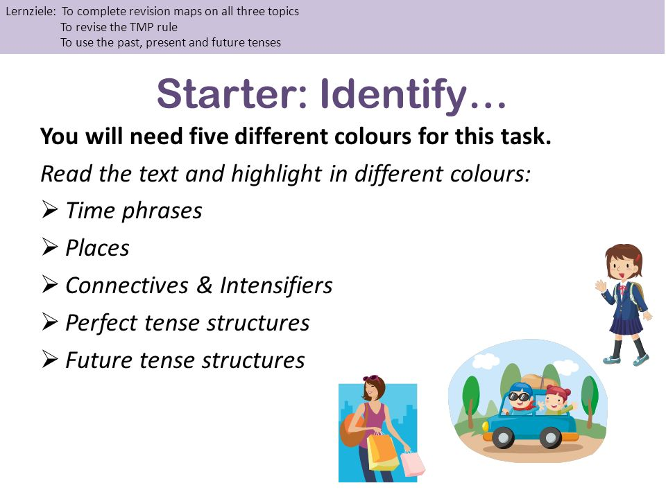 Starter: Identify… You will need five different colours for this task.