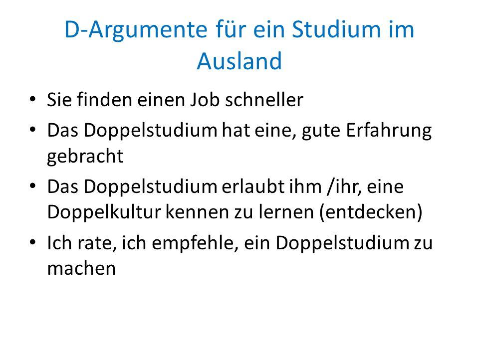 D-Argumente für ein Studium im Ausland