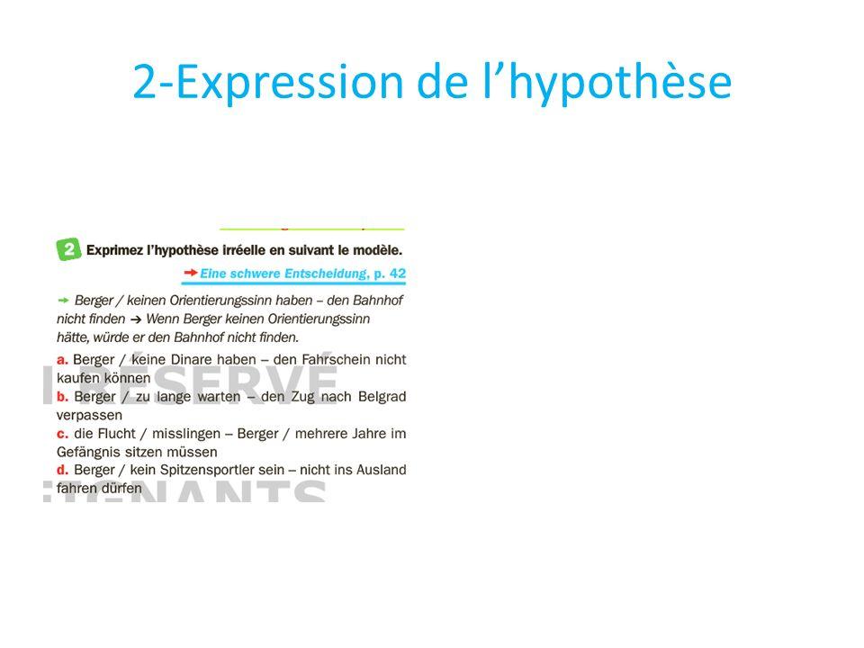 2-Expression de l'hypothèse