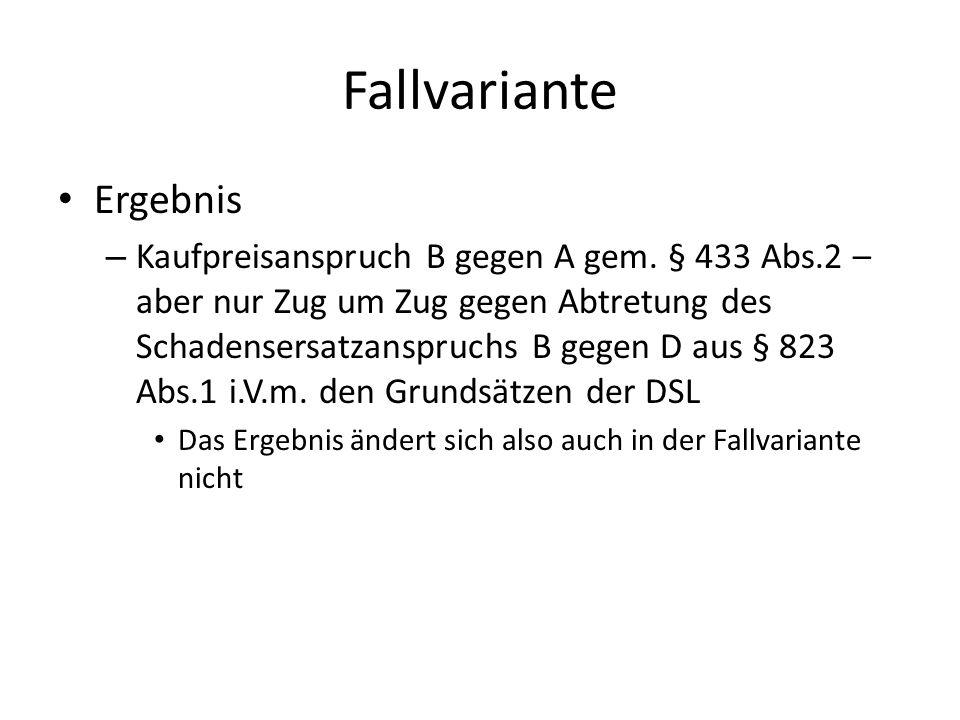 Fallvariante Ergebnis