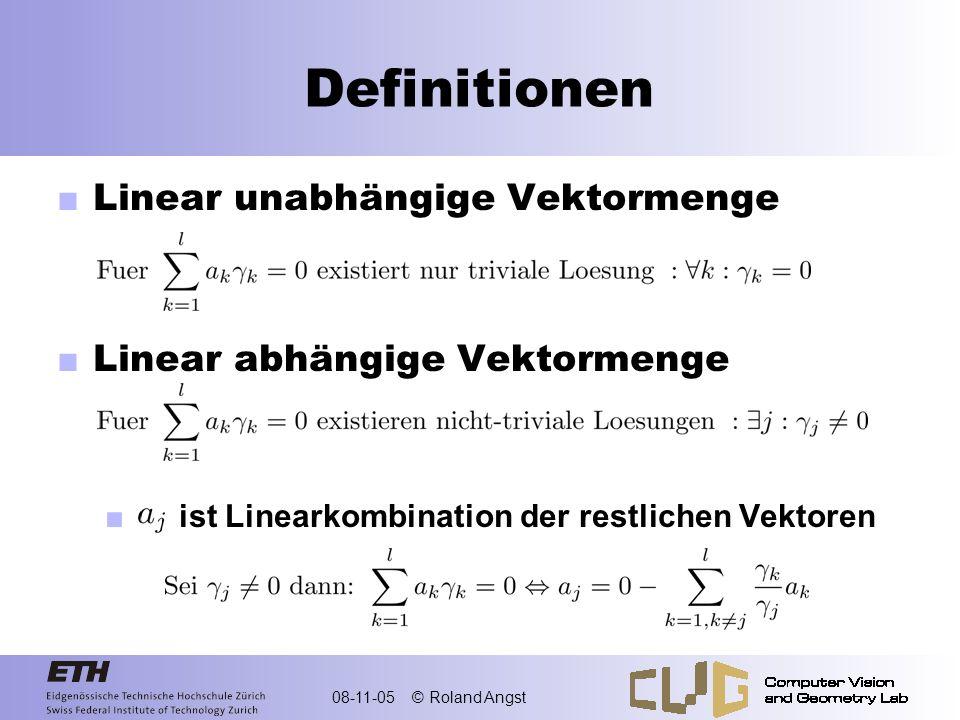 Definitionen Linear unabhängige Vektormenge