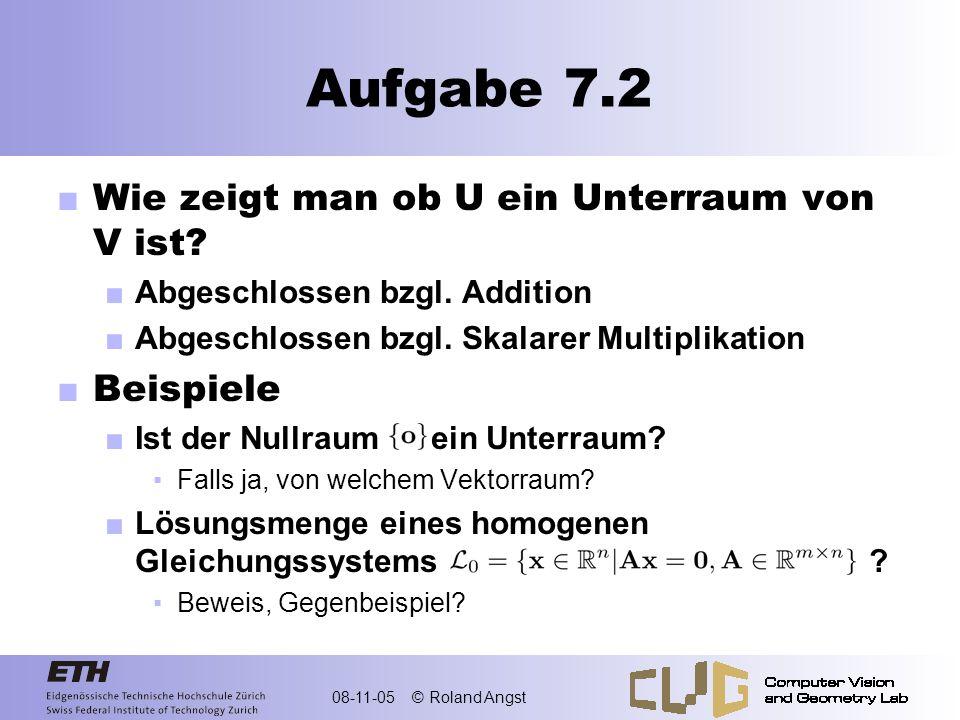 Aufgabe 7.2 Wie zeigt man ob U ein Unterraum von V ist Beispiele