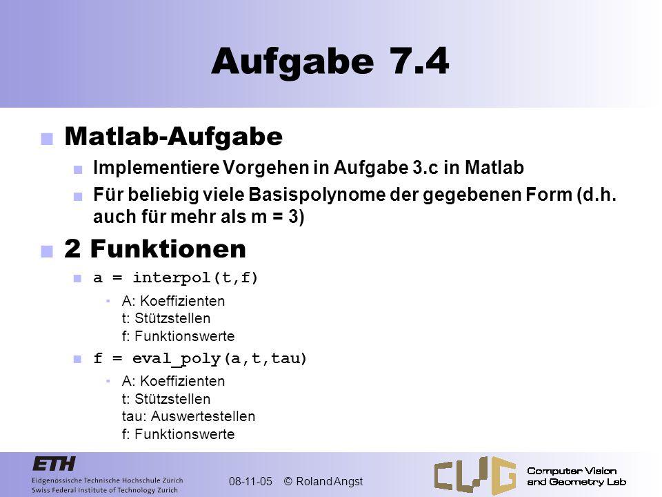 Aufgabe 7.4 Matlab-Aufgabe 2 Funktionen
